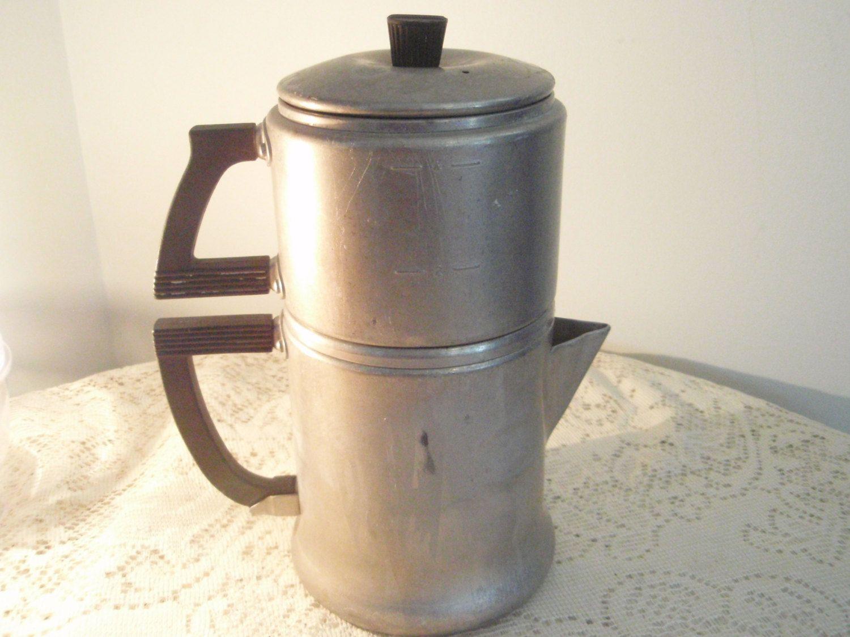 Vintage Percolator Aluminum Coffee Maker Campfire Pot Rustic Country 4 Cup Kitchen By Socialmarystreasures