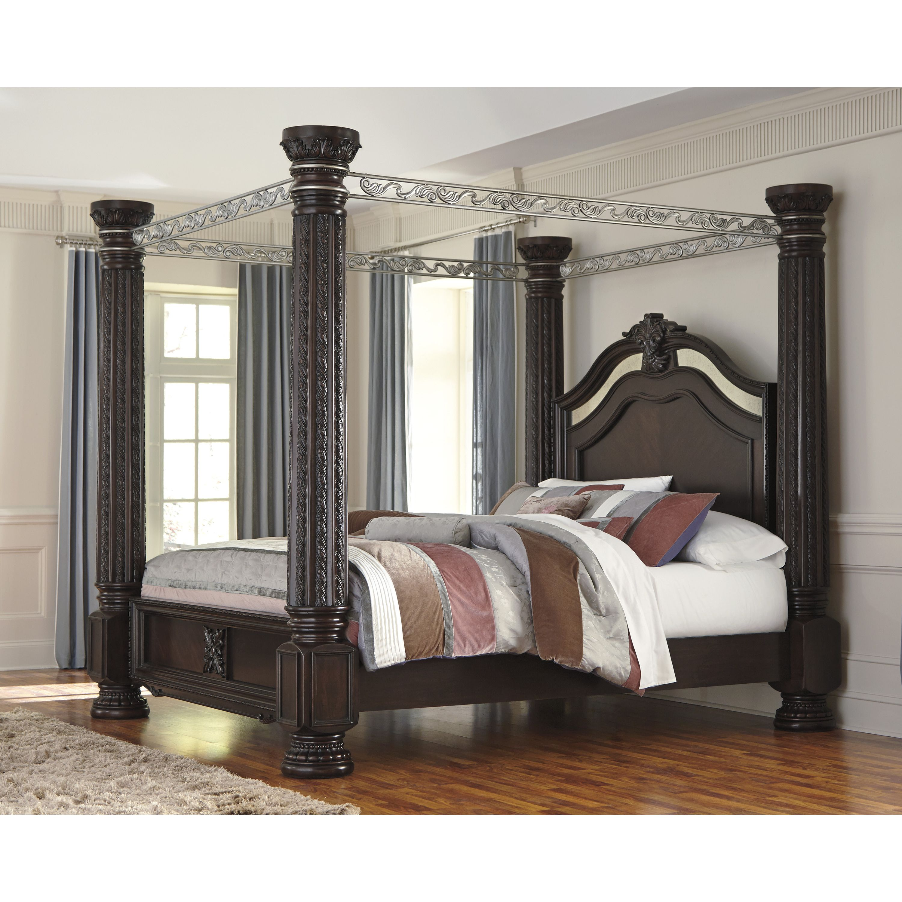 Signature Design By Ashley Presents This Beautiful, Traditional Style  Poster Bed Set. The Poster Design With Its Four Posts And Canopy Top Will  Compliment ...