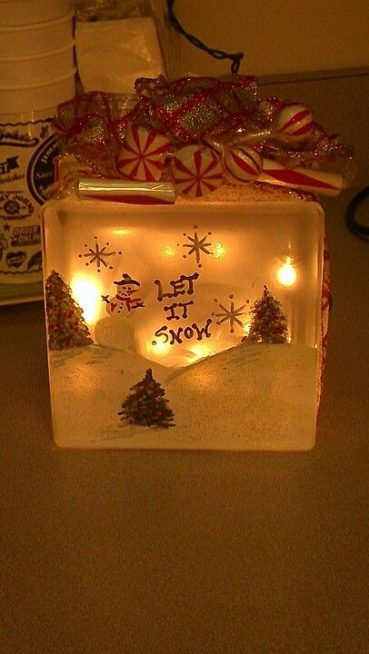 Crafting glass block turned night light/lamp with Christmas lights and some  paint.. can do for any season/holiday! - Crafting Glass Block Turned Night Light/lamp With Christmas Lights