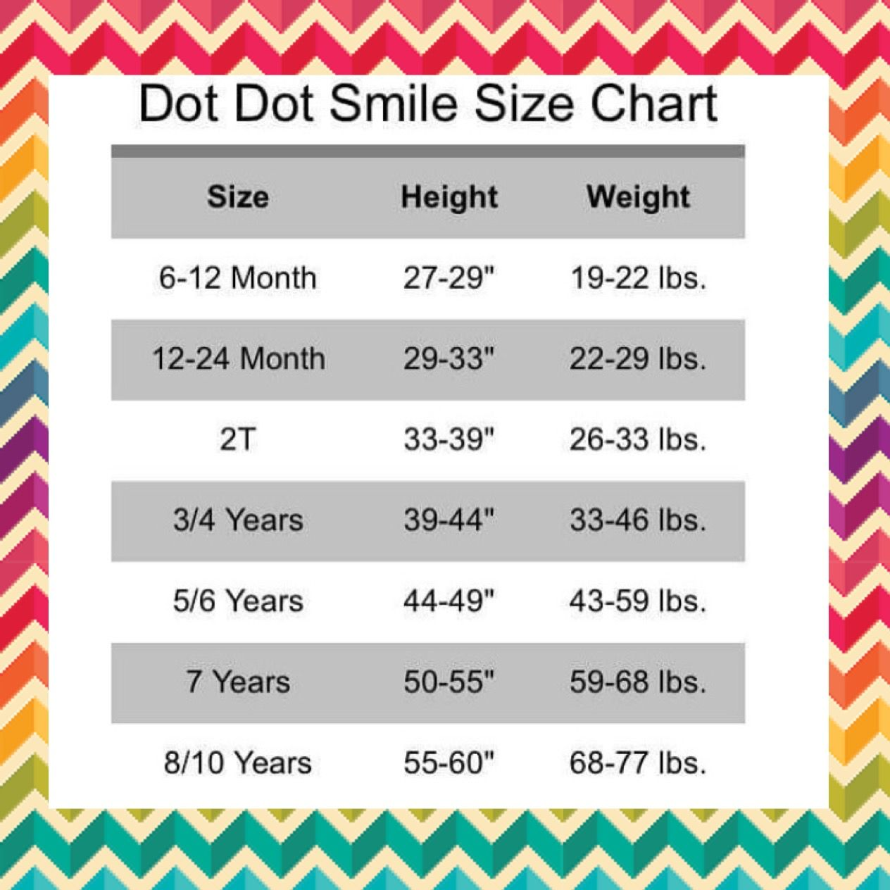 54cf58ee2e6 Dot Dot Smile Shoppe Size Chart! #dotdotsmile #dresses | DDS in 2019 ...