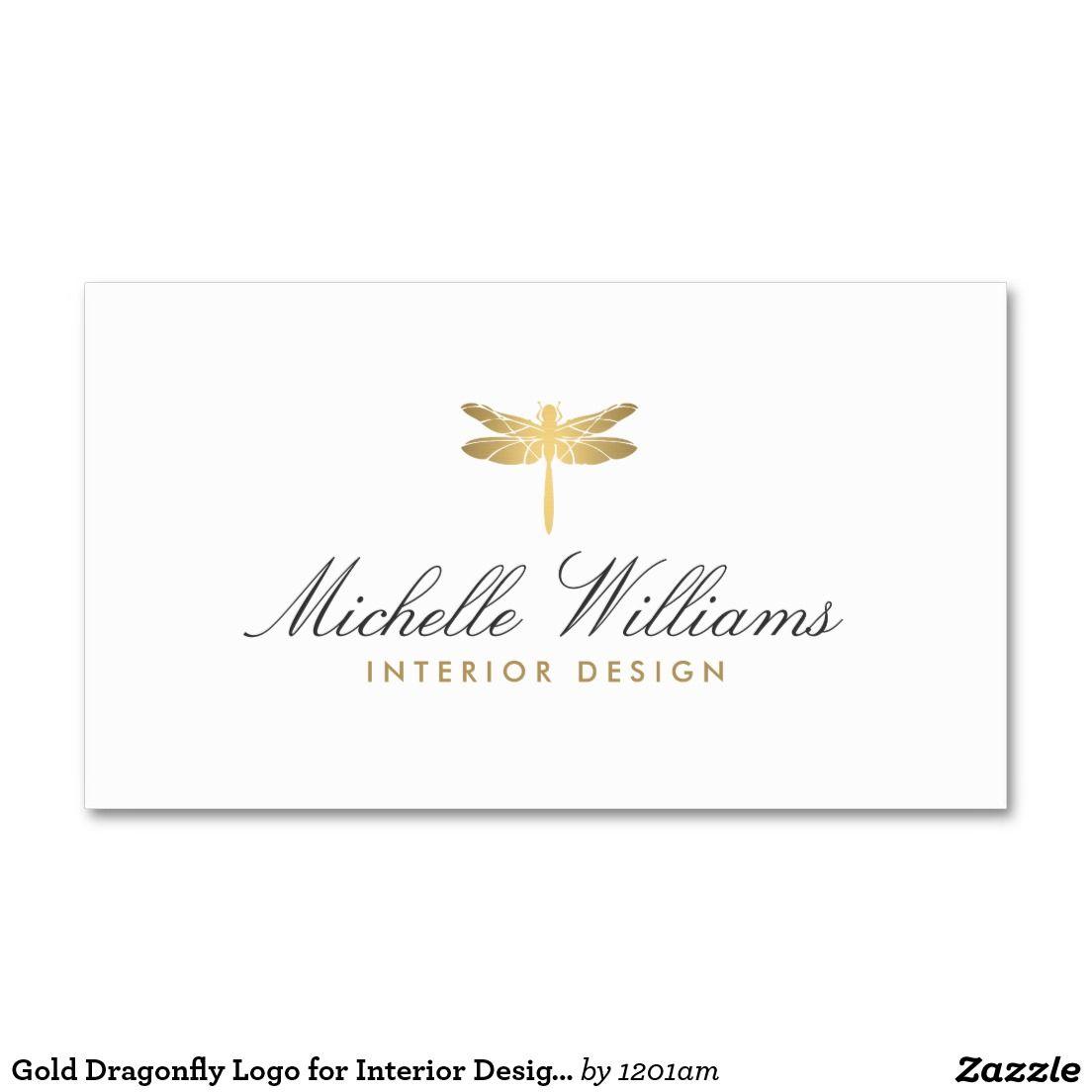 Gold Dragonfly Logo for Interior Designer Business Card ...