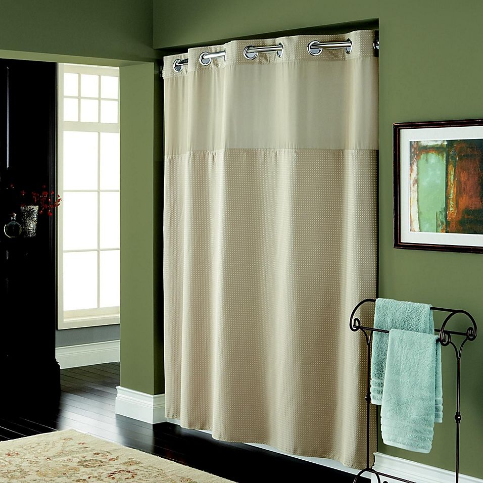 Hookless Waffle 72 X 98 Fabric Shower Curtain In Desert Fabric