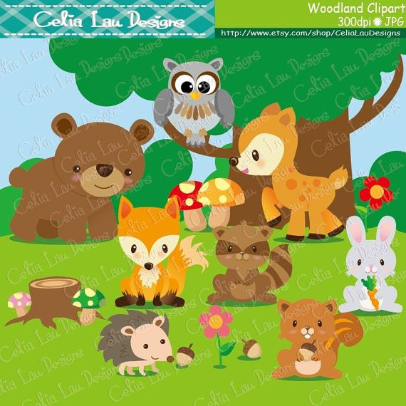 Woodland Animals Clip Art  Woodland Clipart, Forest