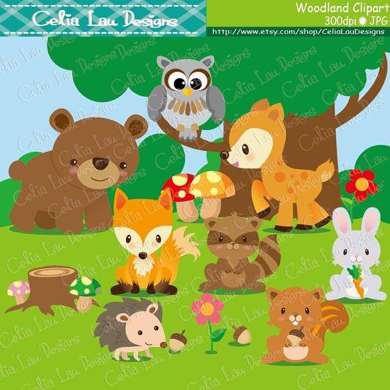 Woodland Animals Clip Art  Woodland Clipart, Forest