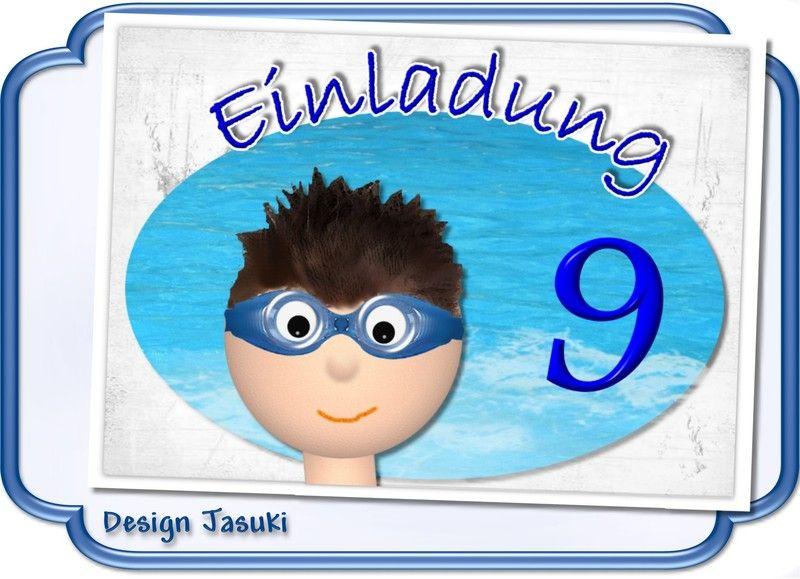 Einladungskarte Kindergeburtstag Schwimmen Junge   **_Einladungskarte  Kindergeburtstag Im Postkartenformat Mit Weißem Umschlag, Motiv Schwimmen  Junge.