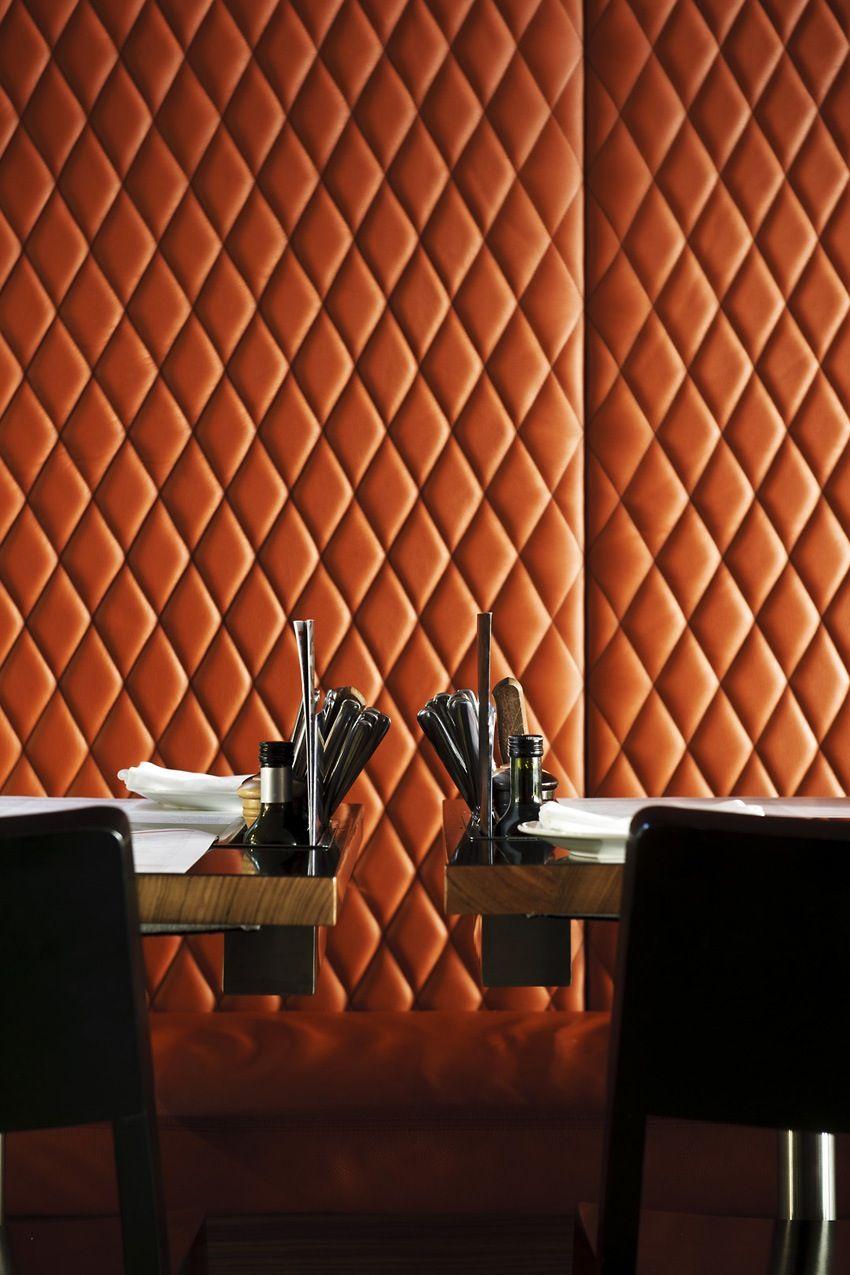 Copper coloured padded back boards  INTERIOR DESIGN