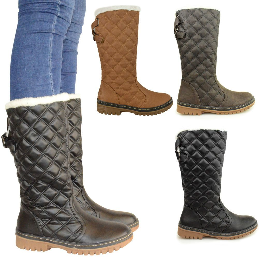 WOMENS LADIES FLAT CALF KNEE HIGH QUILTED FUR LINED WINTER SNOW BOOTS SHOES SIZE in Clothing, Shoes & Accessories, Women's Shoes, Boots | eBay