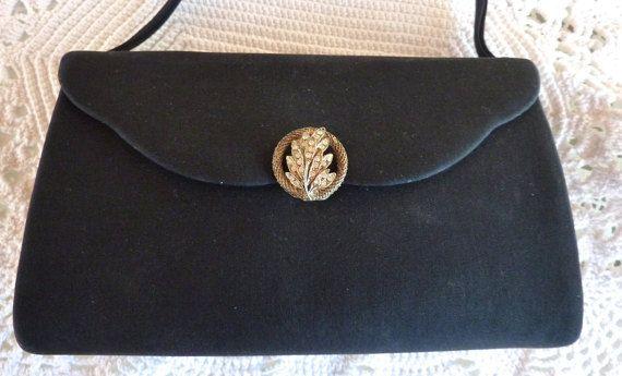 Vintage Black Evening Handbag Small Handle Rhinestone Leaf Jewel Snap Closure Black Faille Fabric Formal Handbag Jeweled Black Bag