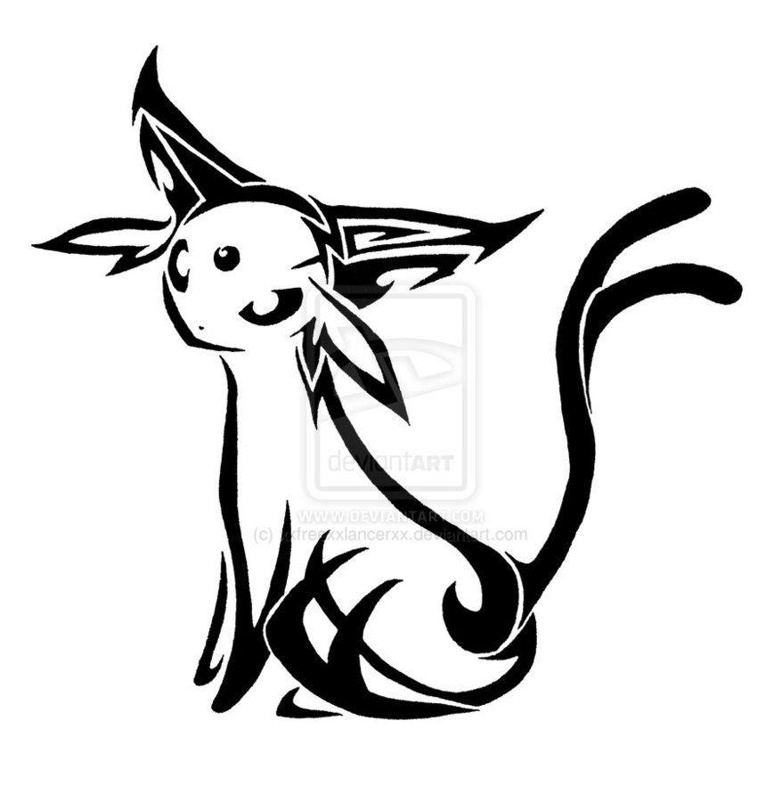 Pokemon Coloring Pages Espeon - Tribal espeon i love pokemon tattoos