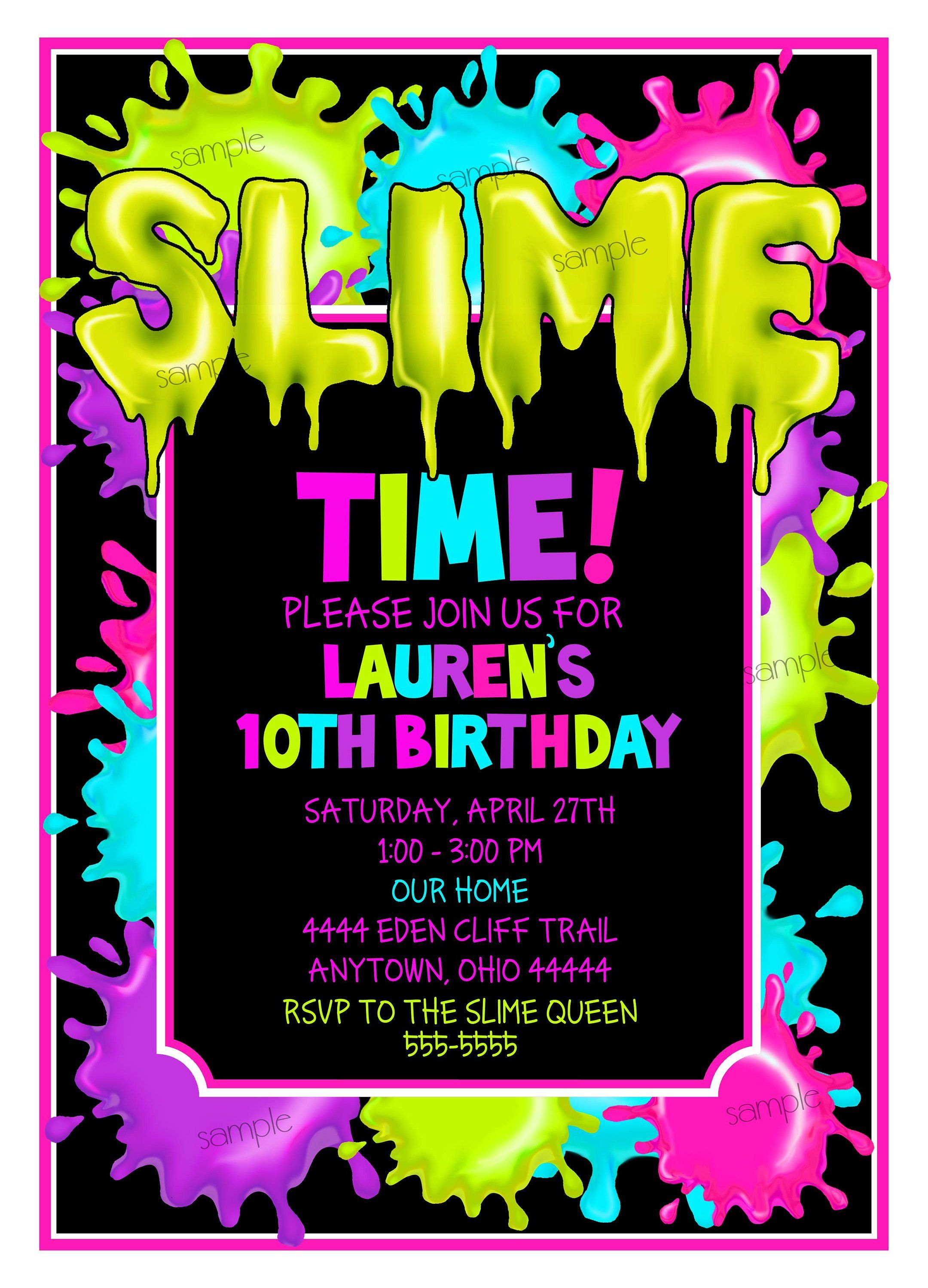 Slime Invitations Slime Birthday Party Slime Party Slime Etsy Slime Birthday Slime Party Birthday Party Invitations Diy
