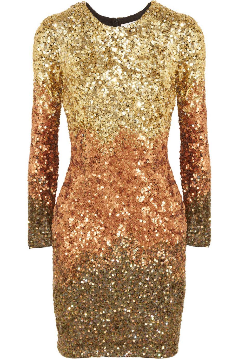 8893bd2a RACHEL GILBERT Gold Shivaun Dégradé Metallic Sequined Dress Gold, copper  and bottle-green dégradé sequined viscose. Fully lined.
