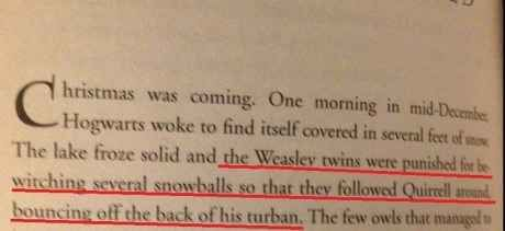 One time in school, they repeatedly threw snowballs at Voldemort's face.