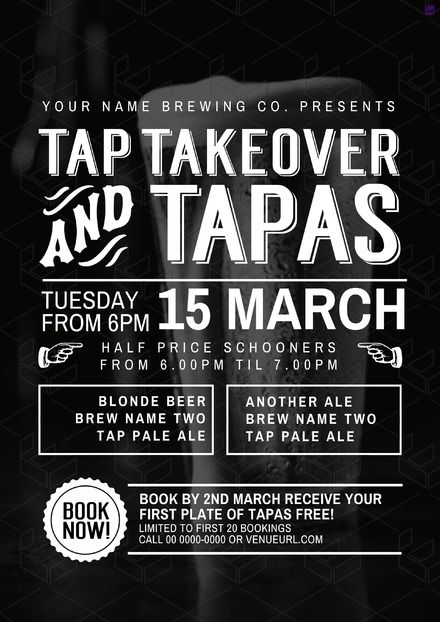 tap takeover  u0026 tapas event poster  customise your food  u0026 beverage offer graphics with pre