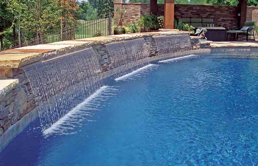 Inspirations Modern Swimming Pools Decorations With Fountains