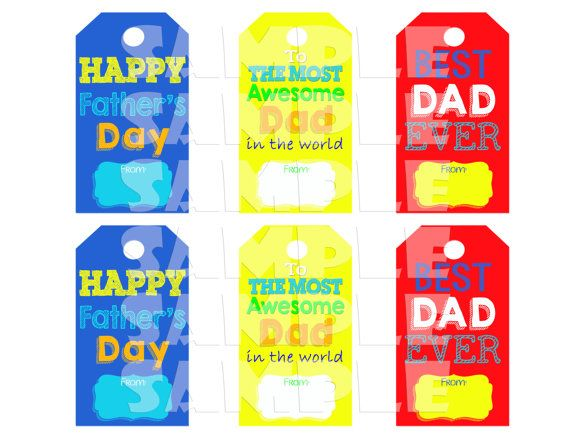 Printable FATHER'S DAY GIFT Tags Colorful by ShinySparklyParties