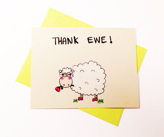 Funny Thank You Card Thank Ewe Cute Thank You By Lovencreativity
