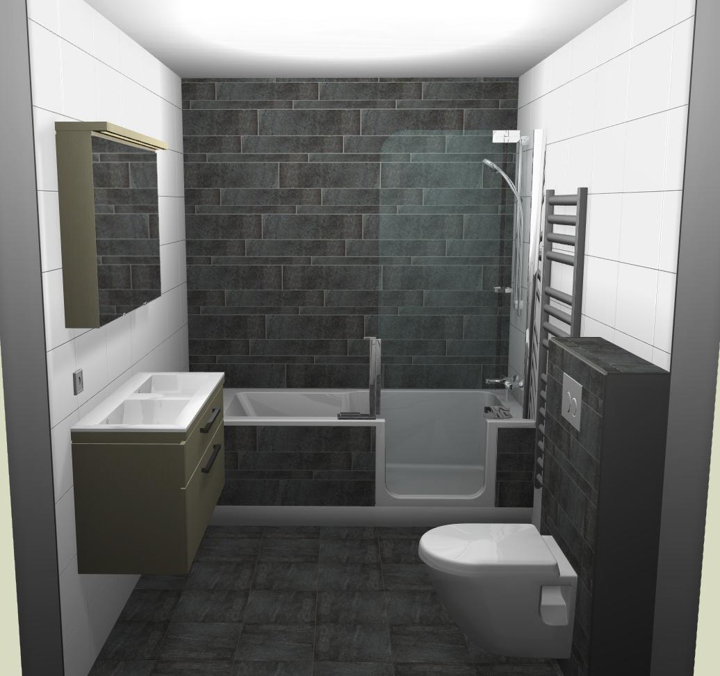 Badkamer-voorbeeld met douche en bad in 1. Zou wel andere kleuren ...