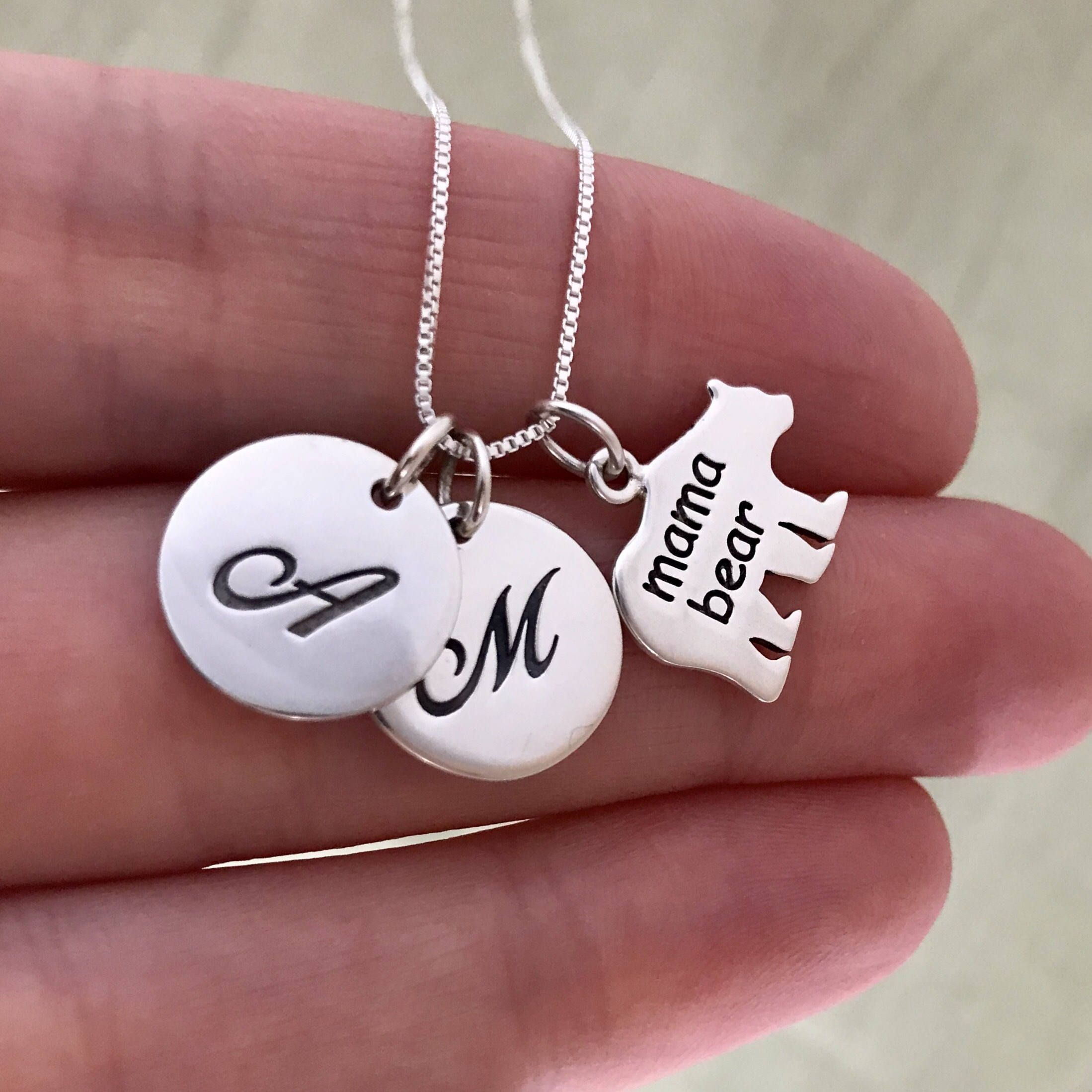 Two kids Mama Bear Necklace - Sterling Silver Personalized ...