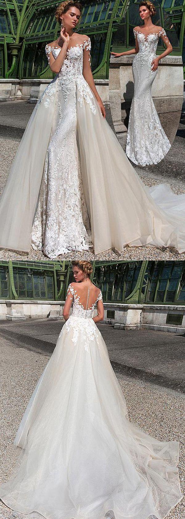Fascinating Tulle & Lace Sheer Jewel Neckline 2 In 1 Wedding Dress ...