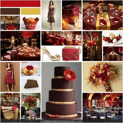 red, brown, and green wedding | Mega Wedding Colors Board ...