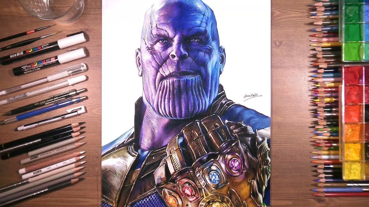 Drawing Of Thanos With Infinity Gauntlet Marvel Drawings Drawings Color Pencil Drawing