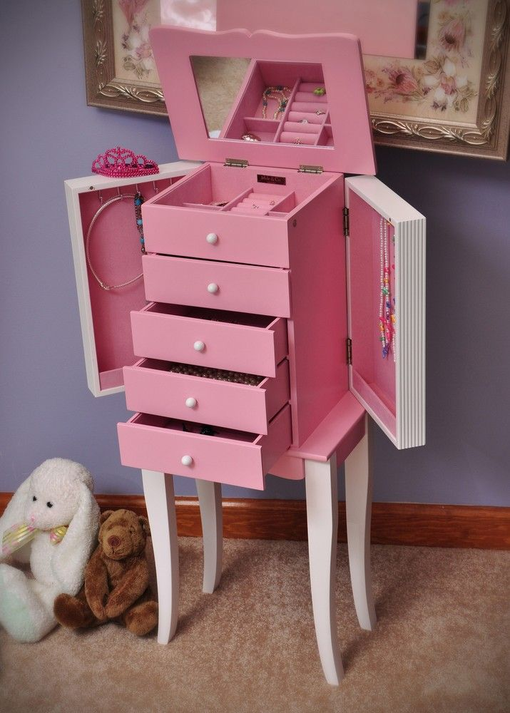 Coaster Bedroom Furniture >> Adorable little girls jewelry armoire | Pink furniture, Jewelry armoire, Little girl jewelry