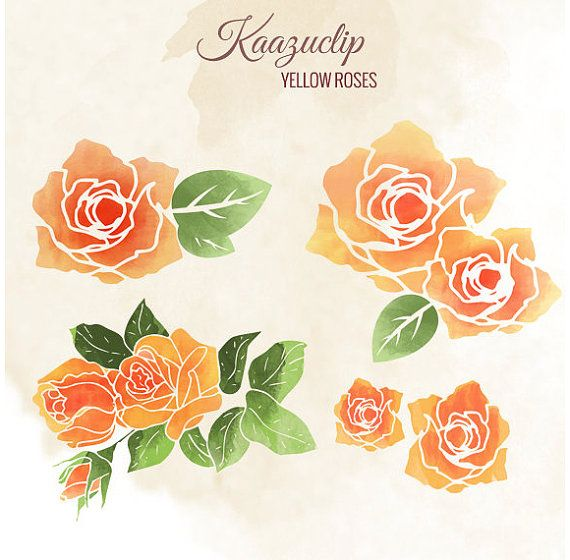 Watercolor Yellow Roses collection  Commercial and by kaazuclip