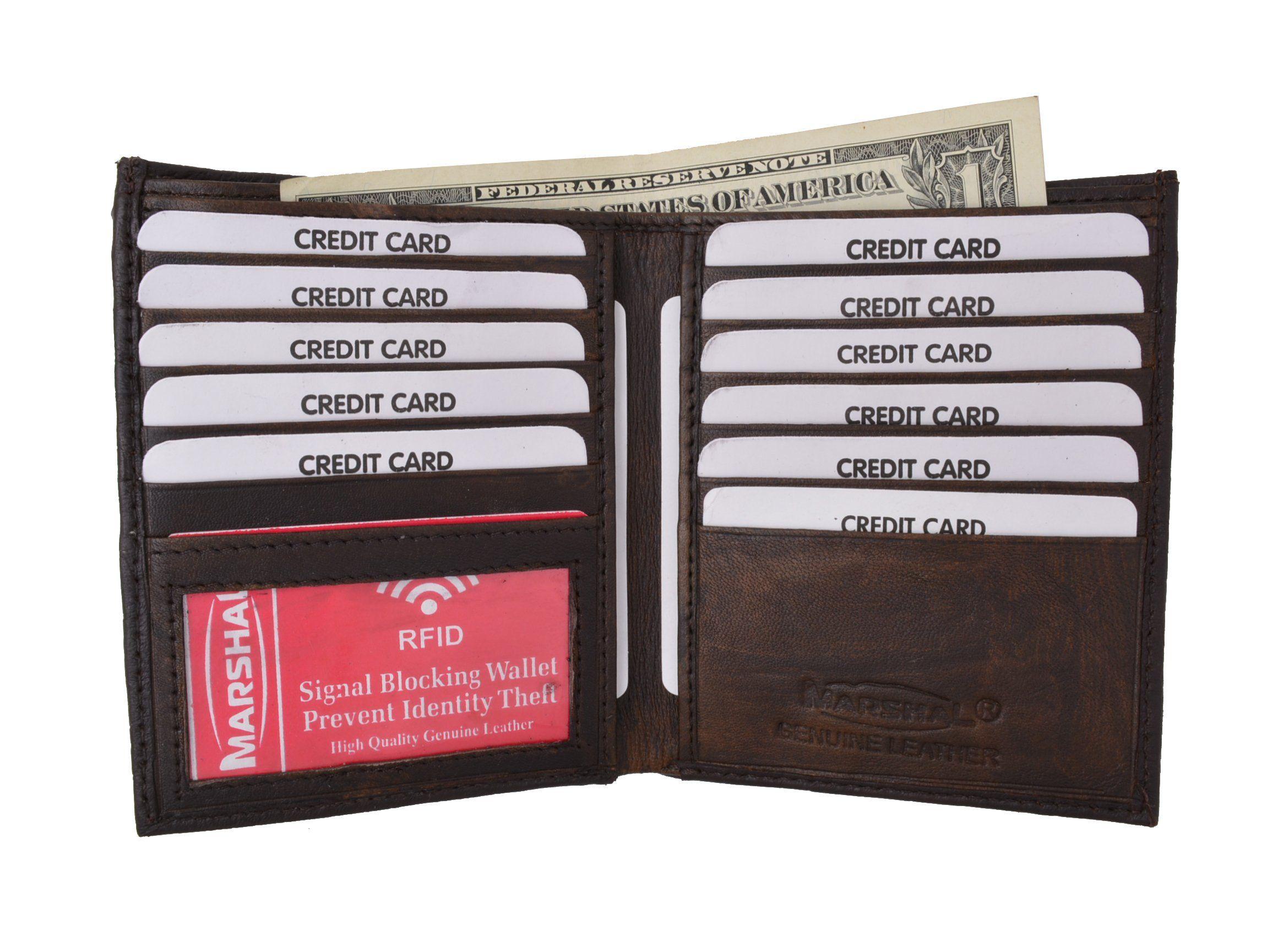 Men/'s Brown Genuine Leather Bifold Credit//ID Cards Holder Slim Wallet by Marshal