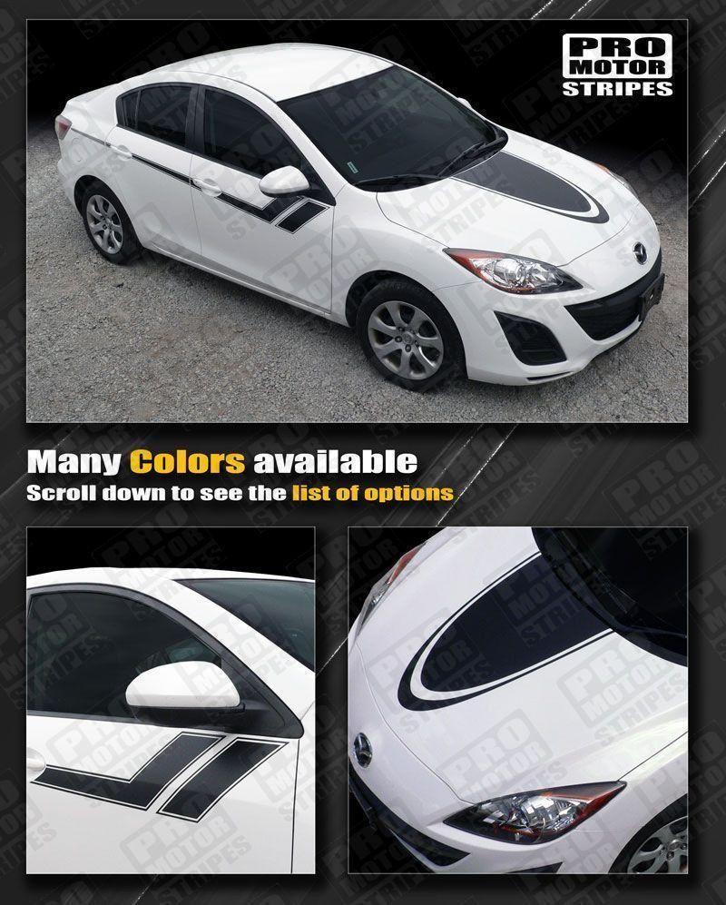 Mazda 3 2009 2013 Hood And Side Sport Hash Stripes Mazda 3 2009