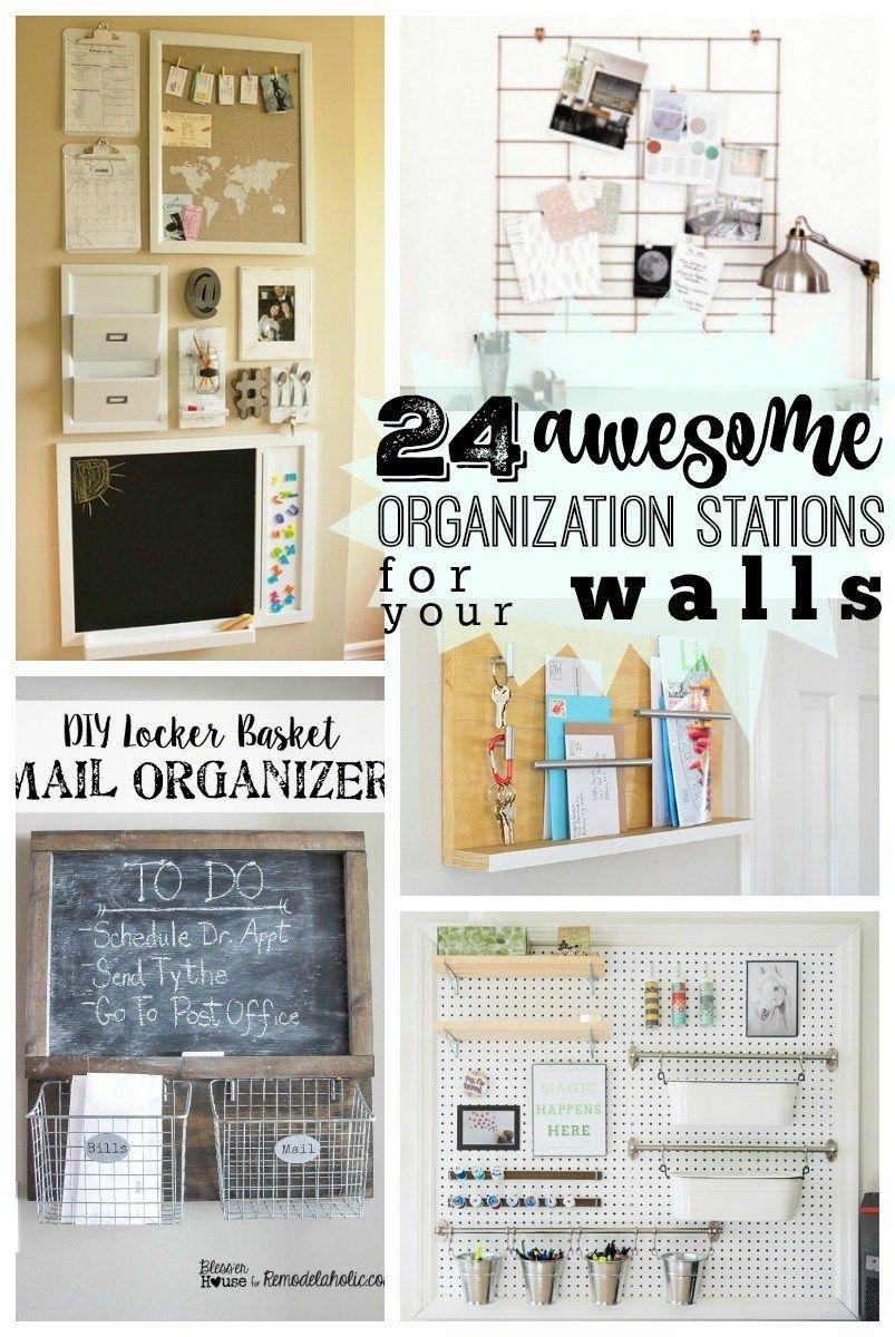 24 Awesome DIY Wall Organization Stations -   19 diy Organization desk ideas