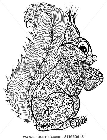 Coloriage Herbst Eichhörnchen Und Herbst