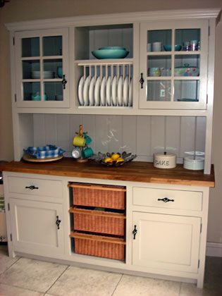 Kitchen Dresser With Glass Doors, Plate Rack, Basket Storage, Drawers And  Cupboards