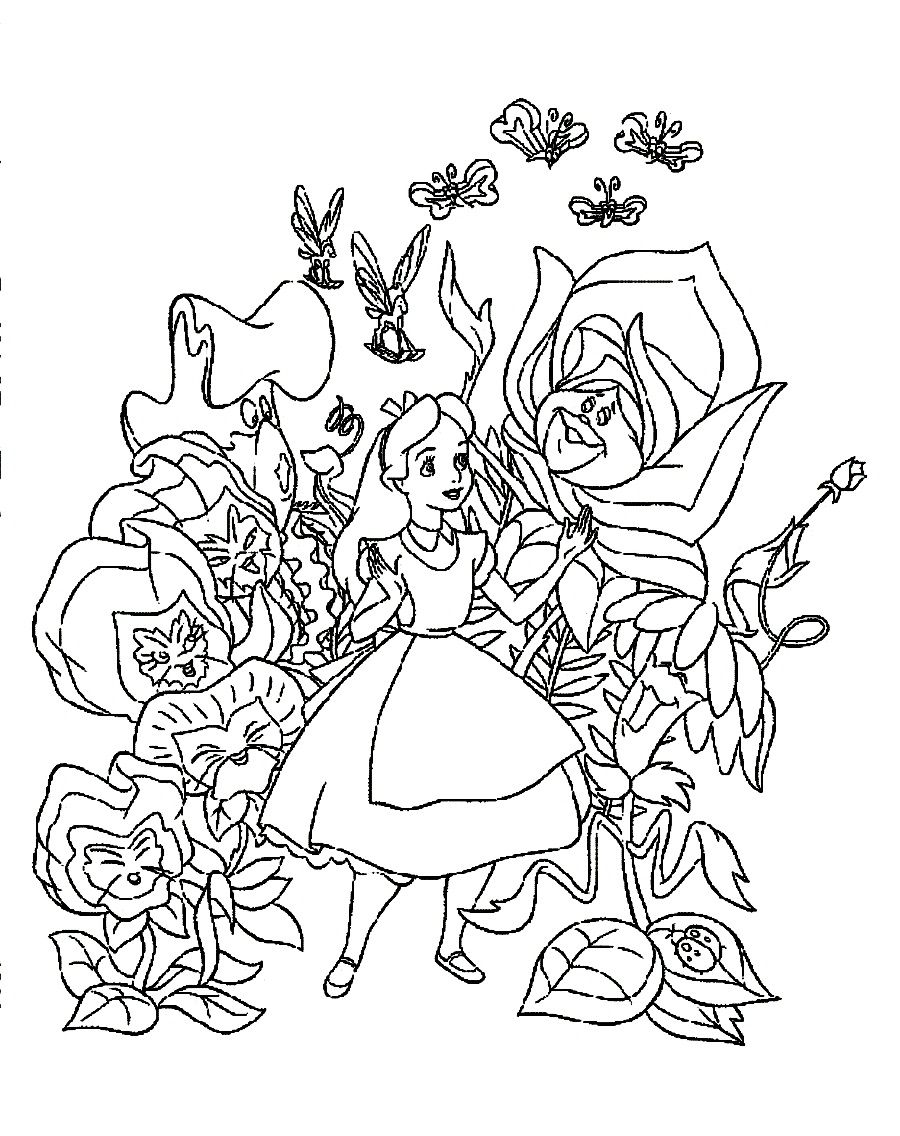 Download And Print Speaking Flowers Welcoming Alice In The Wonderland Coloring Pages