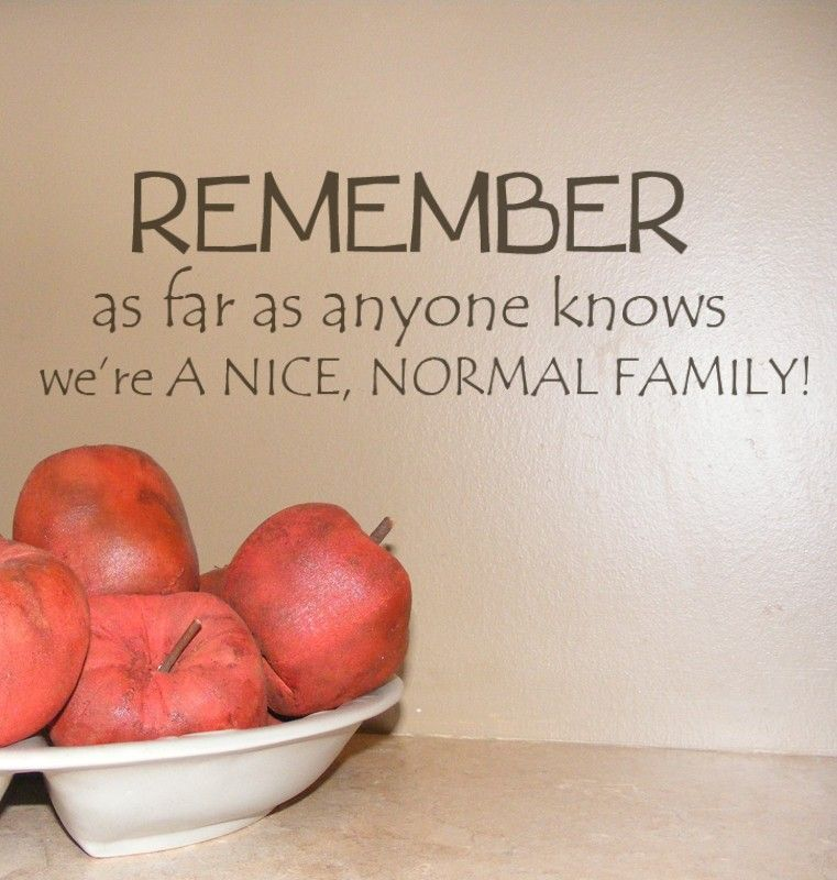 Remember as far as anyone knows we are a Nice Normal Family  vinyl decals lettering words for wall. $17.00, via Etsy.