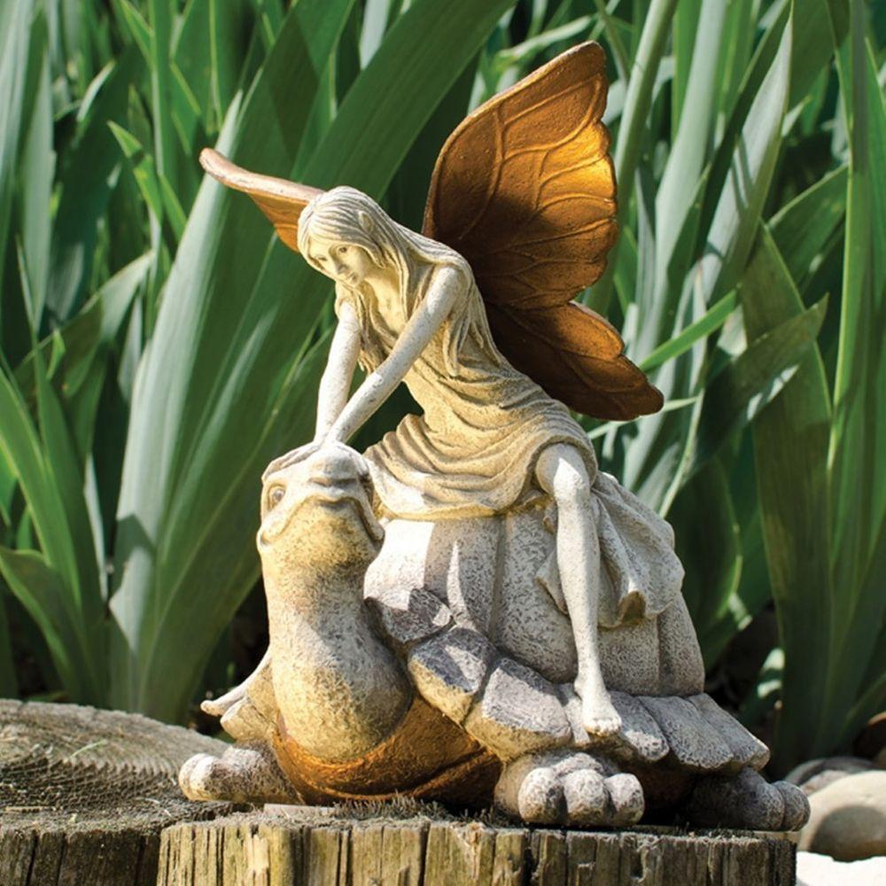 Enchanted Fairy Riding a Turtle Garden Statue | Garden statues ...