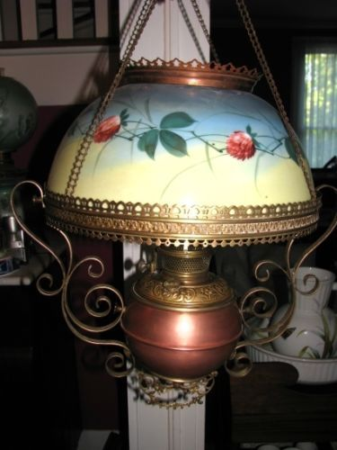 Bradley Hubbard B H Hanging Library Parlor Oil Lamp Copper