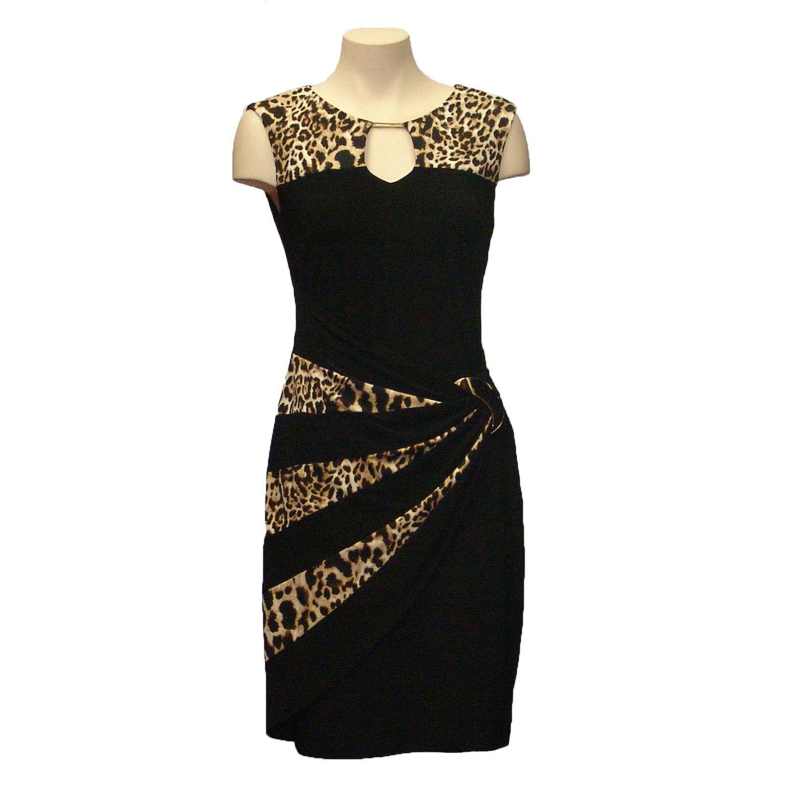 Joseph ribkoff black and brown dress size us gold