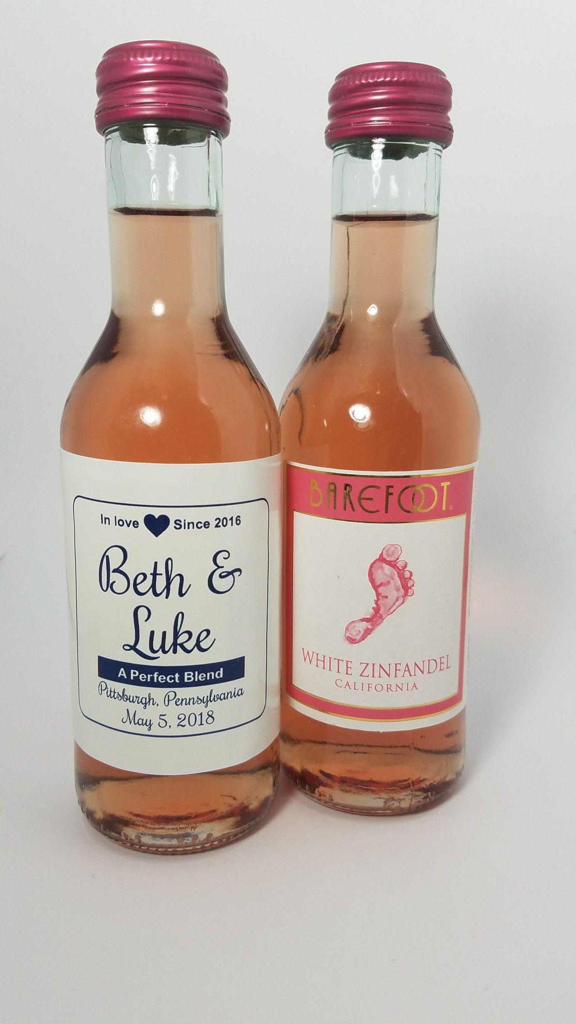 Personalized Wedding Barefoot Mini Wine Bottle Labels