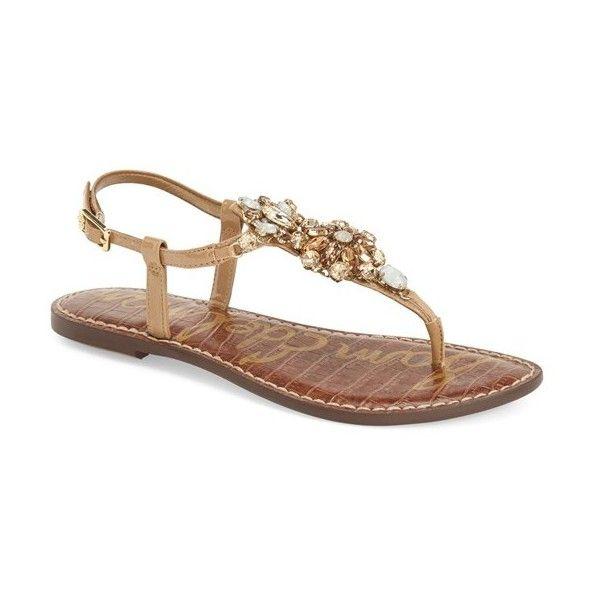 f198c61f86e0 Sam Edelman  Grayson  Crystal Flower Flat Sandal ( 100) via Polyvore  featuring shoes