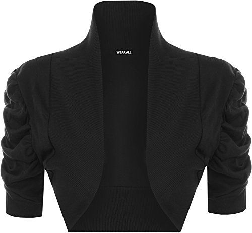 a1c2553ae2a WearAll Womens Ruched Shrug Ladies Bolero Top Black US 1618 UK 2022      Check this awesome product by going to the link at the image.
