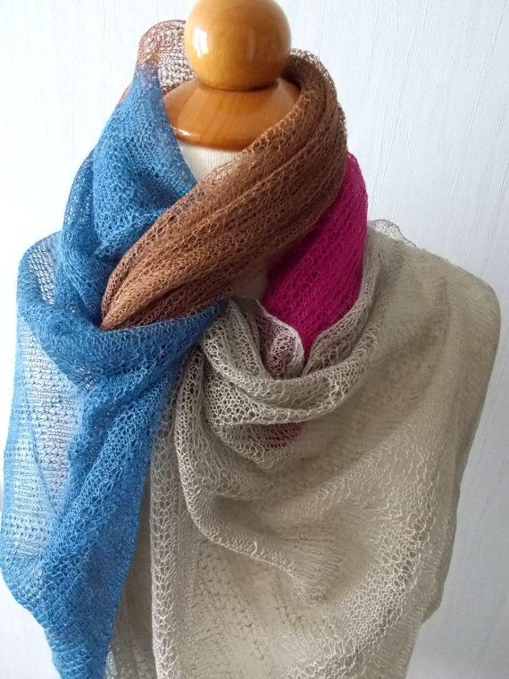 Linen Scarf Knit Shawl Natural Summer Wrap for  Women by LaimaShop