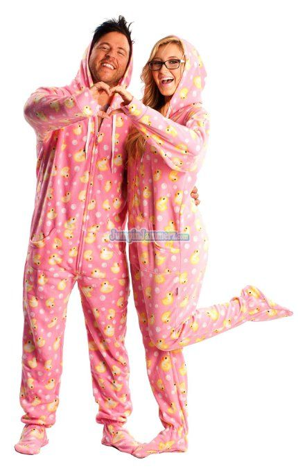 70a53880adac Matching Couples  Pajamas  Pink Hooded Duck Footed Pajamas