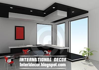 Gibson Board False Ceiling Design For Modern Kitchens Black And