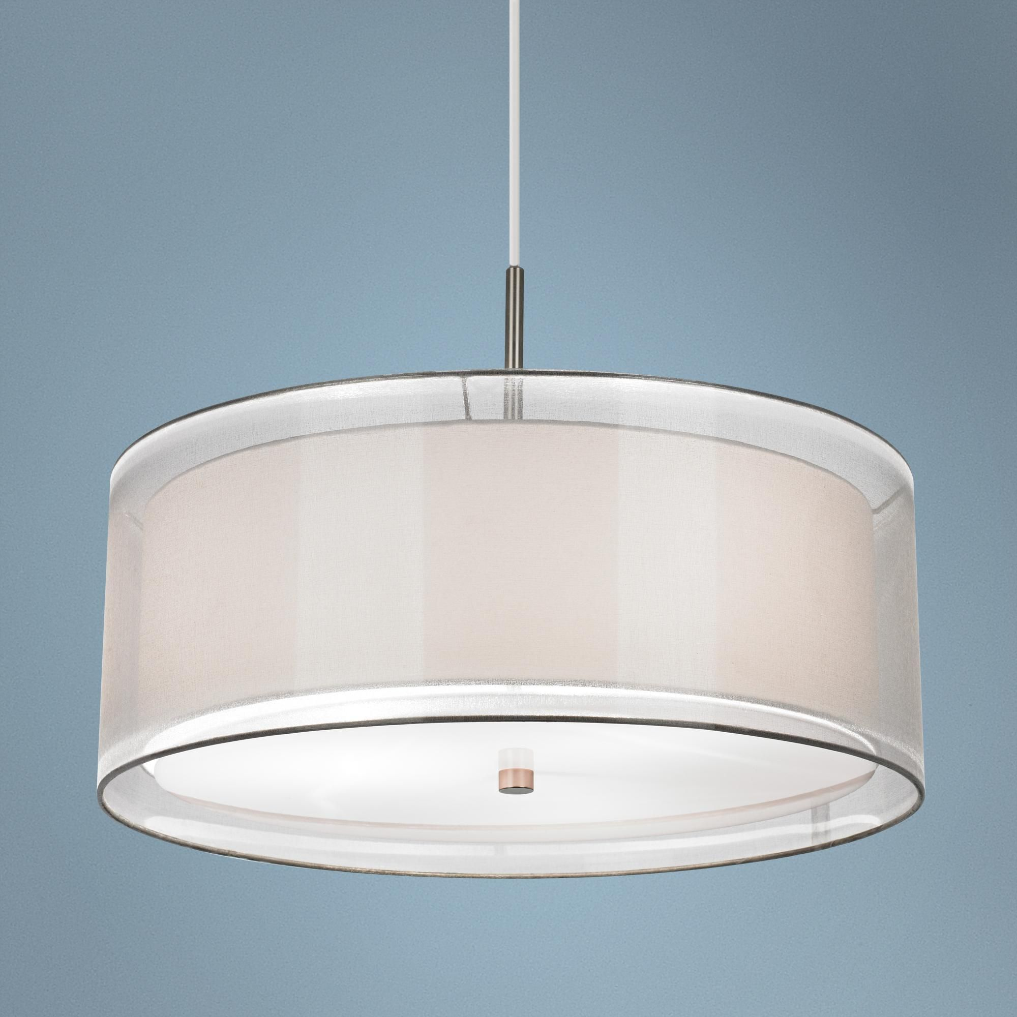 Possini euro double drum 20 wide white pendant light brushed dining room light fixtures arubaitofo Choice Image
