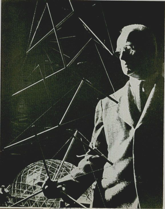Fuller Holding A Tensegrity Tower Mapping Pinterest