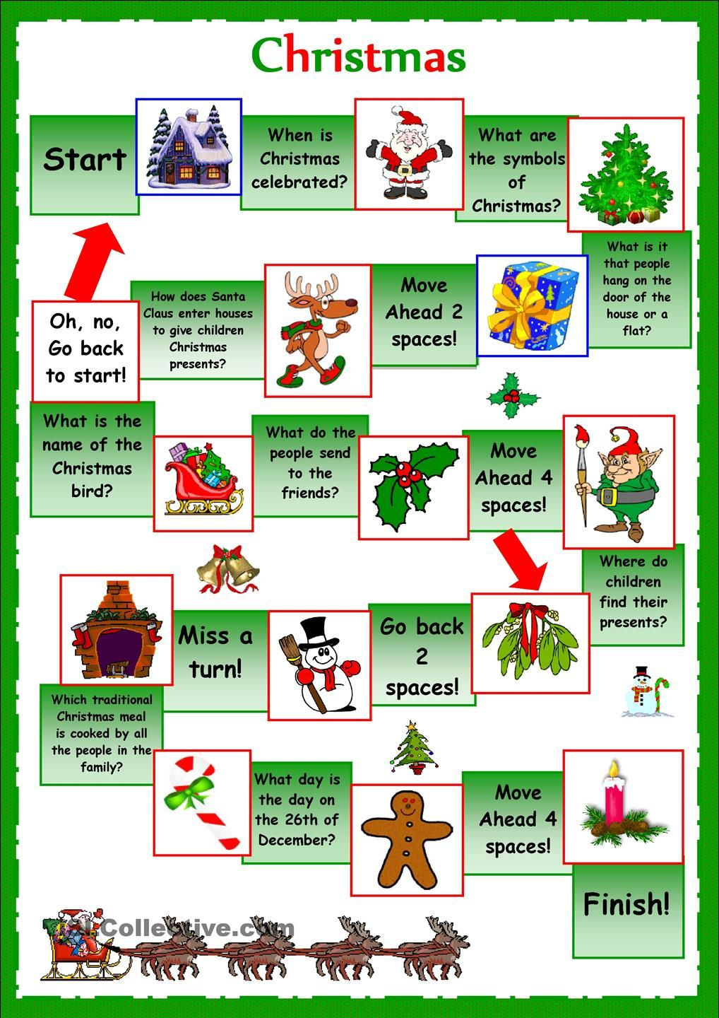 Esl Christmas Board Game Worksheet Google Search Lesson Planning