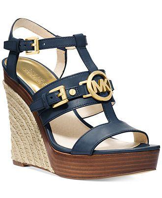Michael kors sandals, Blue wedge shoes