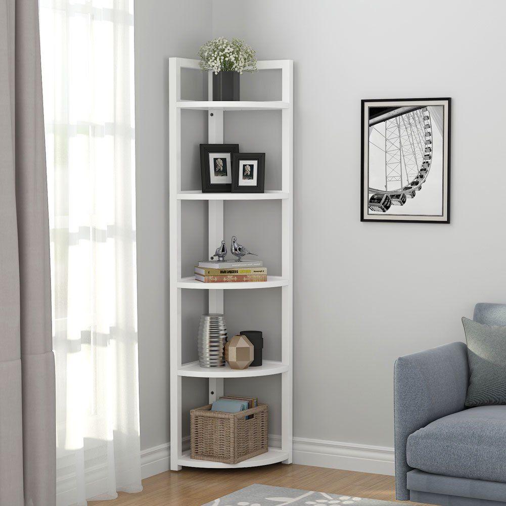 tribesigns 5 tier corner shelf rustic corner storage rack
