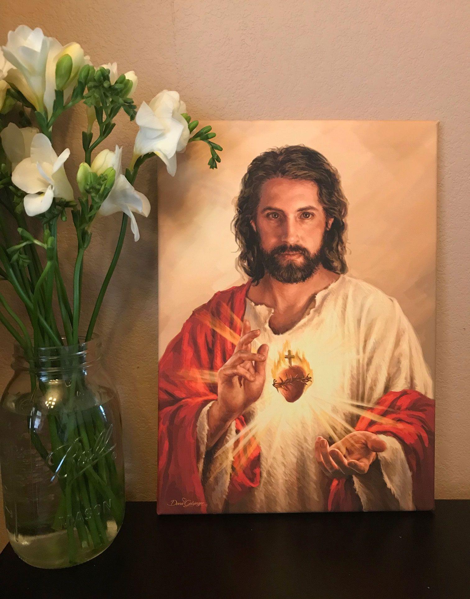 Sacred Heart Of Jesus Canvas Wall Art Jesus Wall Art Canvas Wall Art Art