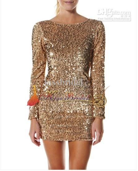 New Gold Color Sequin O-neck Long Sleeve Mini Sheath Cocktail ...